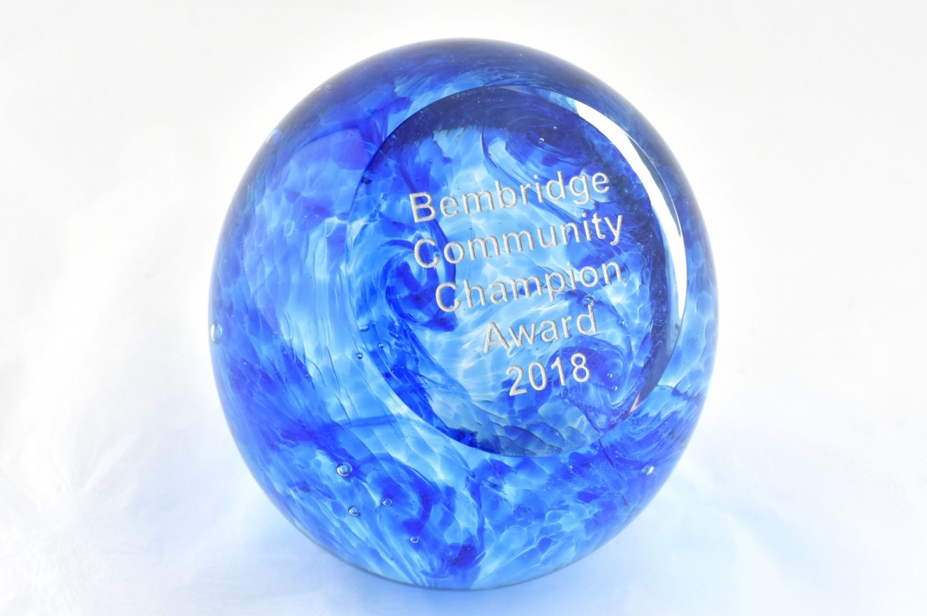 Sea swirl paperweight award