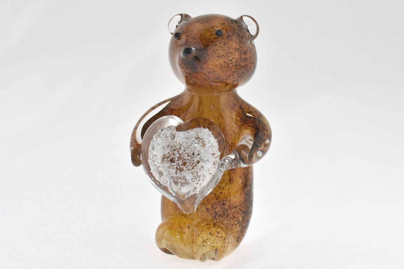 Brown Bear holding a Heart with Ashes.