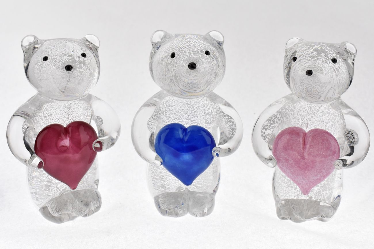 Silver leaf Bears with hearts