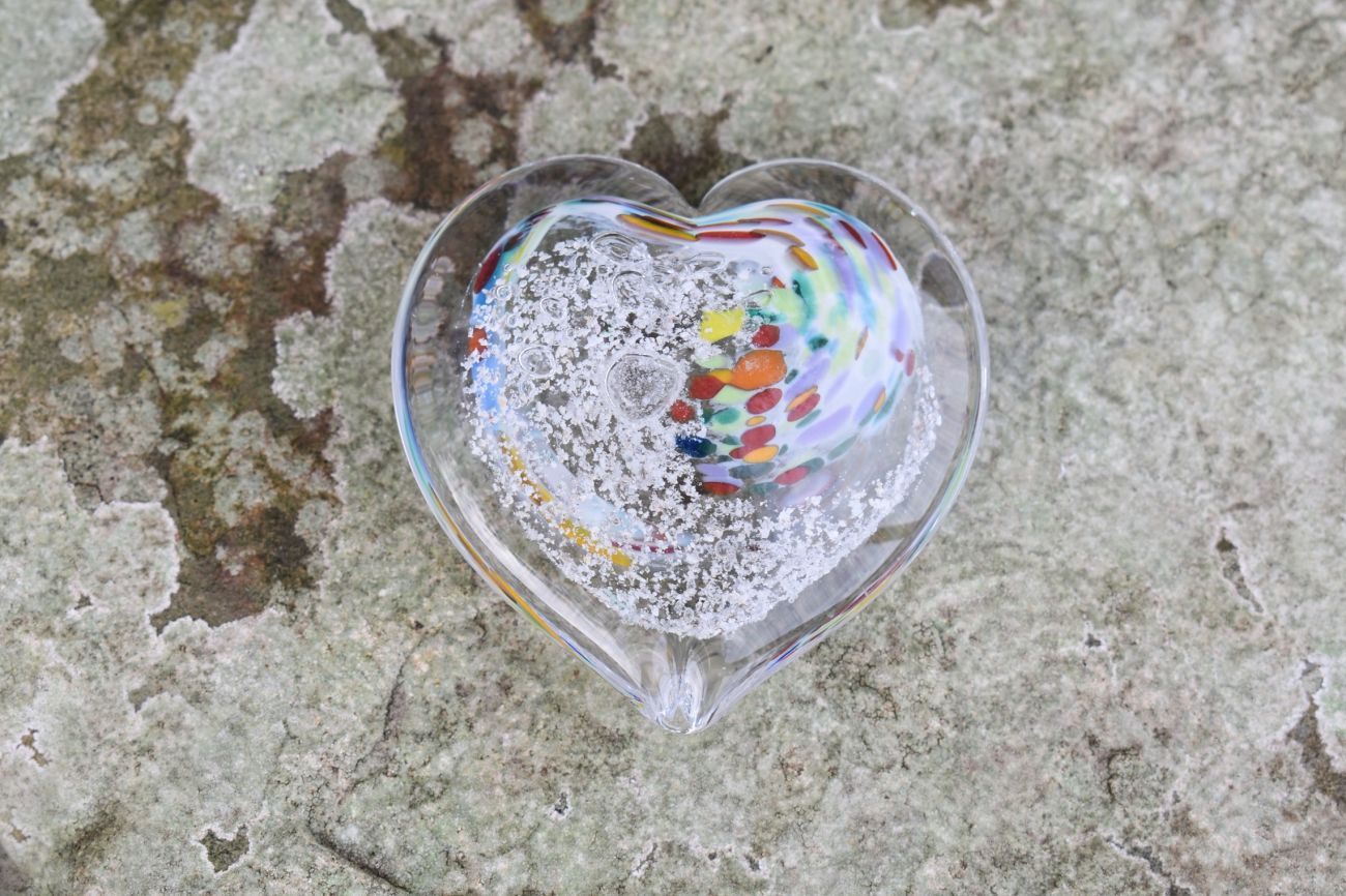 Glass Remembrance Heart with Ashes